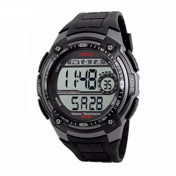 Ceas Barbatesc SKMEI CS900, curea silicon, digital watch, Functii- alarma, ora, data, cadran luminat, rezistent 3ATM, negru