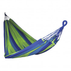 Hamac textil, 200 x 150 x 1 cm, policoton, maxim 100 kg, Albastru/Verde