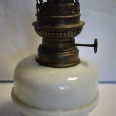 Bazin si mecanism cu fitil pt lampa cu petrol / gaz - alama si sticla opalina