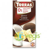 Ciocolata Alba cu Nuca de Cocos si Indulcitor 75g