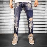 Blugi pentru barbati, albastri, slim fit, conici, casual, skinny, rupturi decorative - 0050, 30