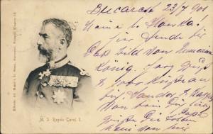 ROMANIA 1901-CAROL I-carte postala circulata de la Bucuresti la Roznov