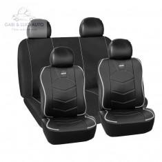 Huse scaune auto Volkswagen Corrado - Momo piele ecologica+material textil negru cu ornamente gri 11 Bucati