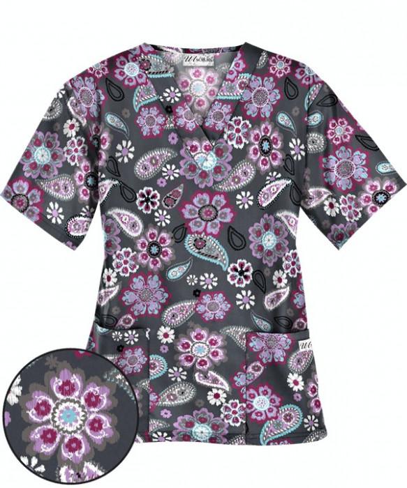 "Bluza medicala ""Flower Child Pewter"" (PC62FCH)"