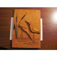 "CY Tablou / aplica lemn mare foarte frumos ""Pasari la Balta"" / Romania comunista"