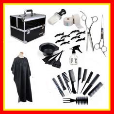 Set Kit Frizerie Foarfeca tuns Filat Sort Geanta Organizator Cosmetice
