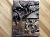 Tablou,basorelief,sculptura in lemn,casa taraneasca