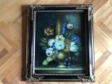 Tablou,pictura franceza in ulei pe panza,rama de lemn,vaza cu flori, Altul