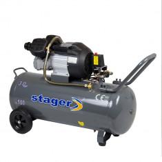 Compresor aer Stager, Rezervor 100L, Presiune 8 bar, 3CP, Debit aer 356 l/min