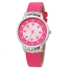 Ceas pentru copii, cu pietricele de cristal, culoare rosu trandafiriu