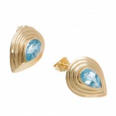 Cercei aur galben 14K, cu blue topaz, CAU23