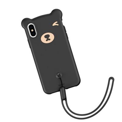 Husa de protectie, Baseus Bear, Flexible Gel Cover, iPhone X/XS, Negru foto