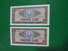 Bancnote romanesti 5lei 1966 unc serii consecutive foto