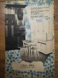 1973, Reclama CEIL SIBIU mobila comunism 24x15 cm, bucatarie IZA si RODICA