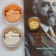 Set BNR 150 de ani de la nasterea lui Ion I.C. Bratianu (aur+ argint+ tombac)