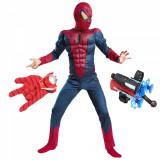 Set costum Spiderman cu muschi si doua lansatoare pentru baieti