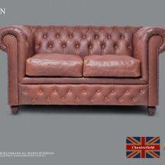 Canapea  din piele naturală -Vintage Maro-2 locuri-Autentic Chesterfield Brand