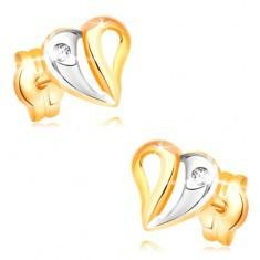 Cercei din aur galben de 14K - inimă bicoloră cu decupaje și zirconiu