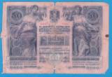 (1) BANCNOTA AUSTRO-UNGARIA - 50 KRONEN / KORONA 1902, CU STAMPILA LOCALA - RARA