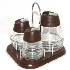 Set solnite 3 piese suport lemn M-532034 culoare cafea Raki