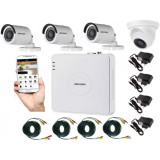 Cumpara ieftin Kit 4 camere supraveghere mixt (interior/exterior) + DVR 4 canale HDTVI TurboHD si AHD HikVision + Surse + Cablu