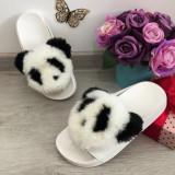 Cumpara ieftin Papuci albi cu blanita panda / slapi / sandale albe pt fetite 31 33 36