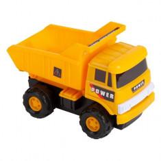 Camion de jucarie pentru constructii, model basculanta, galben, 21x11x18 cm