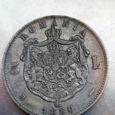 5 lei 1880 Argint VF Carol I, Kullrich sub efigie