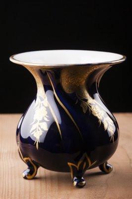 Vaza vintage , cobalt , portelan Graf von Henneberg , marcat foto