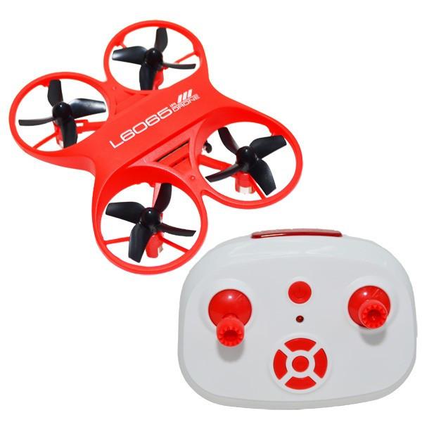 Mini drona de jucarie cu radiocomanda rosie, 9,5x5,5x2,5 cm