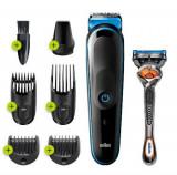 Aparat de ras si tuns 7-in-1 Braun MGK3245, Lame ascutite durabile, 5 accesorii, aparat de ras Gillette Flexball, Acumulator (Negru/Albastru)