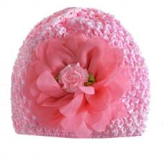 Turban cu trandafir din organza roz