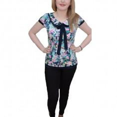 Bluza deosebita de ocazie, cu imprimeu multicolor si guler rotunjit