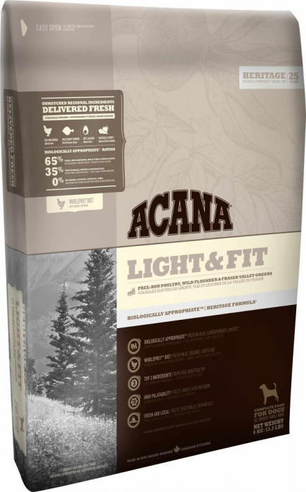 Acana Heritage Light & Fit 11.4 kg + recompense Tail Swingers 100 g