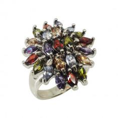 Inel Argint 925 Multicolor cu Marcasite si Zirconii, Marime 54