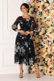 Rochie Ginette neagra cu imprimeu floral gri
