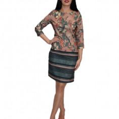 Rochie eleganta cu design floral,nuanta plamaniu, Roz, 38, 40, 42, Alta