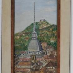 Tablou anii 70 Peisaj citadin, pictura in ulei, inramat 31x47cm