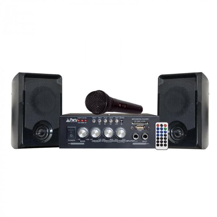 Set Karaoke Party, amplificator, microfon, Bluetooth, 2 boxe