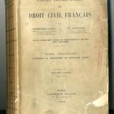Cours Elementaire de droit civil francais 1922 Tome Troisieme Dallox Paris