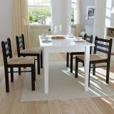 Scaune de bucătărie 4 buc., lemn, pătrate, maro