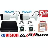 Cumpara ieftin Sistem supraveghere 2 camere Rovision 5MP HDCVI ( oem dahua ) , DVR 4 canale, accesorii incluse