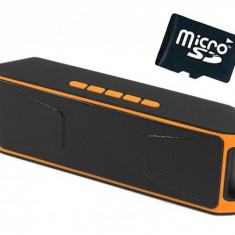 Boxa Portabila Bluetooth iUni DF02, Radio, Orange + Card 4GB Cadou