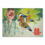 Tablou Feng Shui cu rate mandarin si simbolul dublei fericiri