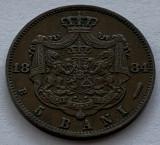 5 Bani 1884 Romania, Superba, varianta 2 cute la draperie