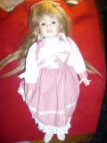 Papusa Diana cu cap ,maini ,picioare portelan , Colectia Promenade ,h=40cm
