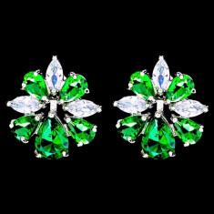 Cercei placati cu Aur 18K si Diamante, Iris Platinum & Green