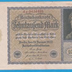(4) BANCNOTA GERMANIA - 10.000 MARK 1922 (19 IANUARIE 1922) - VARIANTA MICA