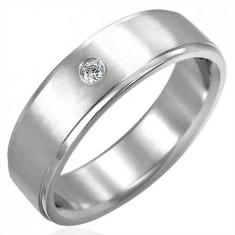 Inel lustruit din oțel cu zirconiu - Marime inel: 65
