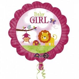 Balon botez fetita Baby Girl Safari din folie 43cm